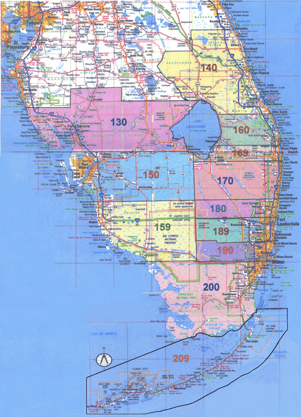 Florida South Area 10 AlAnon Map of Districts